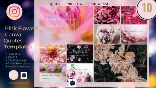 Pink Flowers Inspirational Quotes
