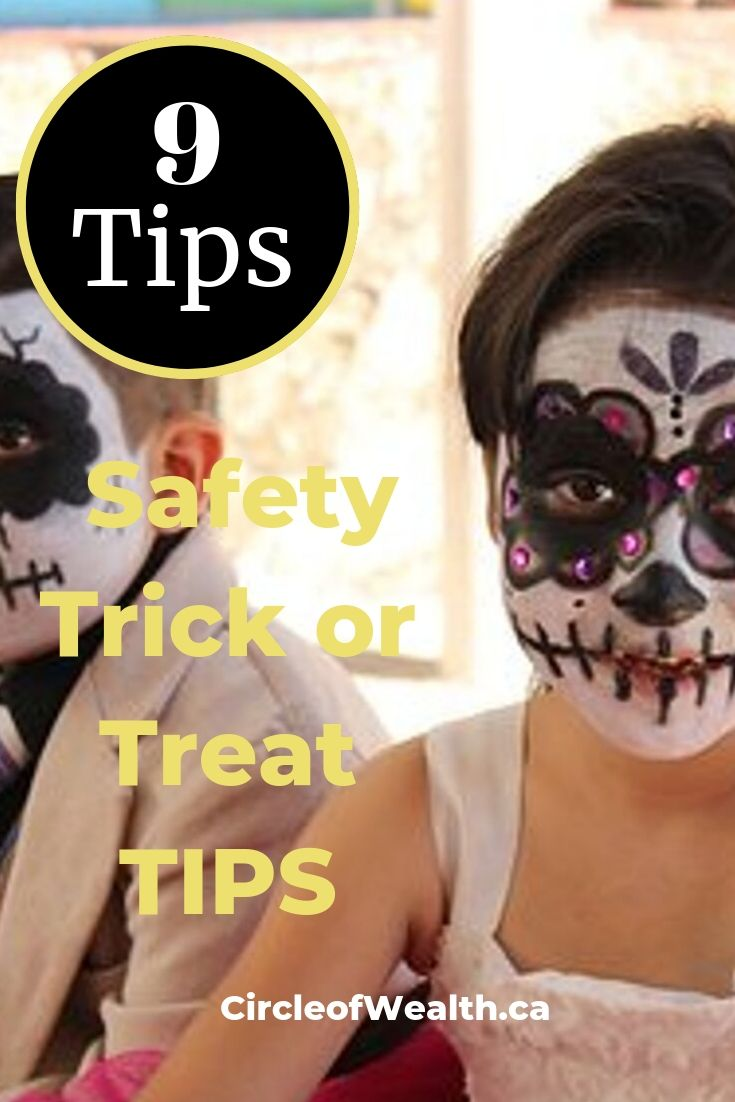 Hallowe'en Tips Here are 9 SafetyTrick or Treat TIPS_ for children_Kids Day of the dead costume